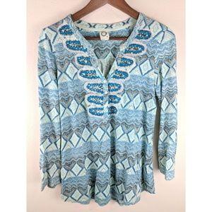 Anthropologie Akemi + Kin Embellished Print Blouse